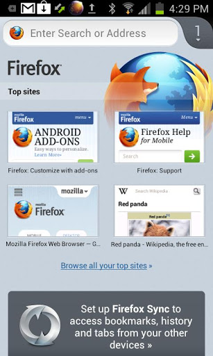����� ����� �������� Firefox Browser for Android ���������
